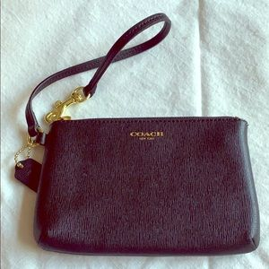 Small Black Leather Coach Wristlet